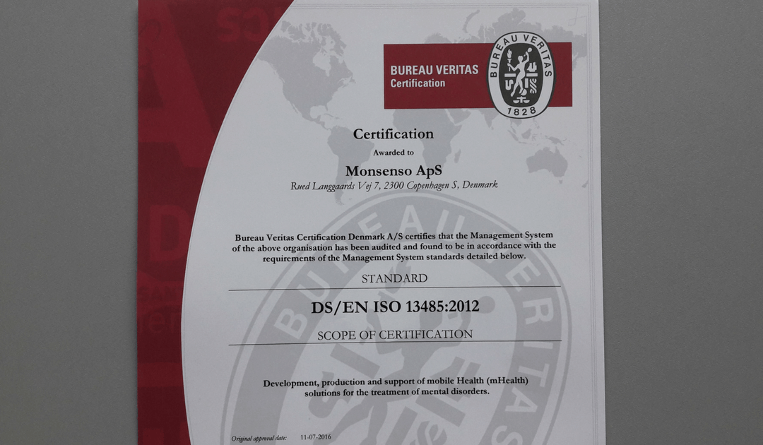 Monsenso receives ISO 13485 certification