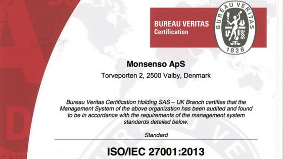 Monsenso achieves ISO 27001 certification